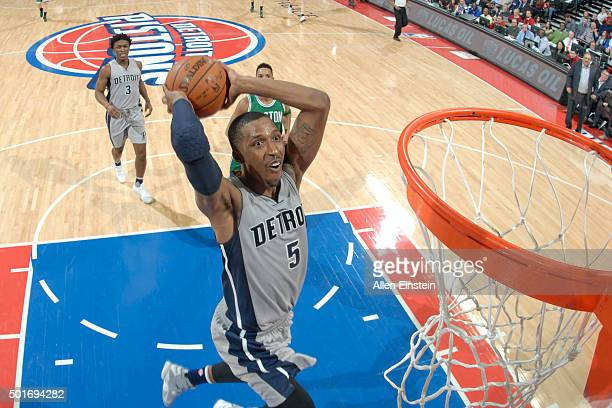 Kentavious CaldwellPope of the Detroit Pistons dunks against the Boston Celtics on December 16 2015 at The Palace of Auburn Hills in Auburn Hills...