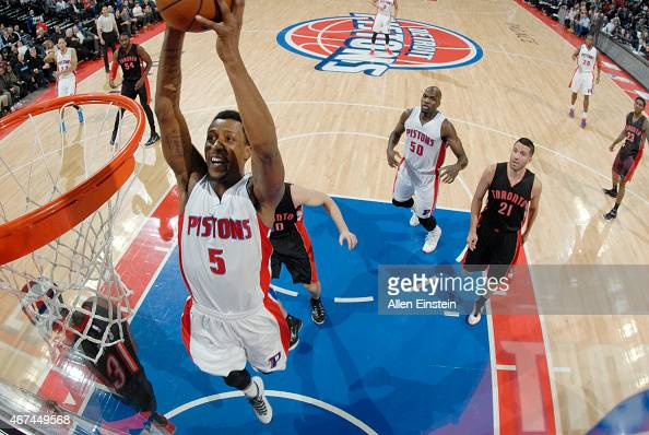 Kentavious CaldwellPope of the Detroit Pistons dunks against the Toronto Raptors during the game on March 24 2015 at The Palace of Auburn Hills in...