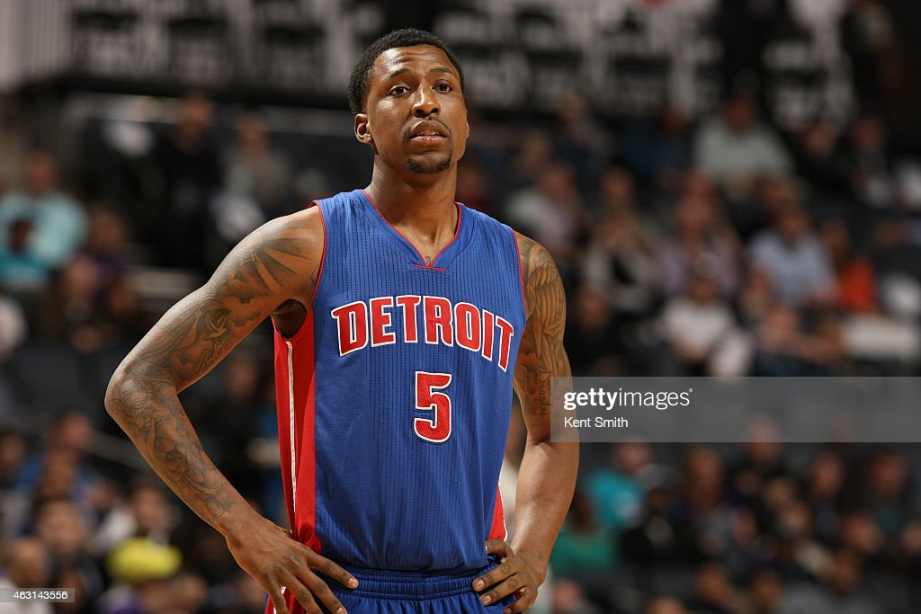 <a gi-track='captionPersonalityLinkClicked' href=/galleries/search?phrase=Kentavious+Caldwell-Pope&family=editorial&specificpeople=7621166 ng-click='$event.stopPropagation()'>Kentavious Caldwell-Pope</a> #5 of the Detroit Pistons during the game against the Charlotte Hornets at Time Warner Cable Arena on February 10, 2015 in Charlotte, North Carolina.