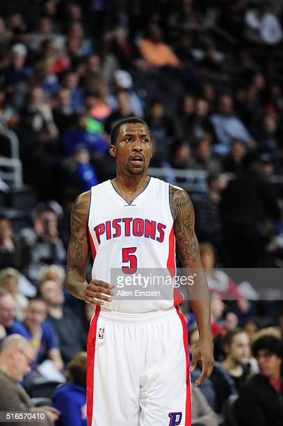 Kentavious CaldwellPope of the Detroit Pistons during the game against the Brooklyn Nets on March 19 2016 at The Palace of Auburn Hills in Auburn...