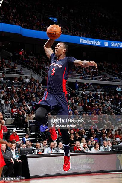 Kentavious CaldwellPope of the Detroit Pistons goes for the dunk during the game against the New Orleans Pelicans on February 21 2016 at The Palace...