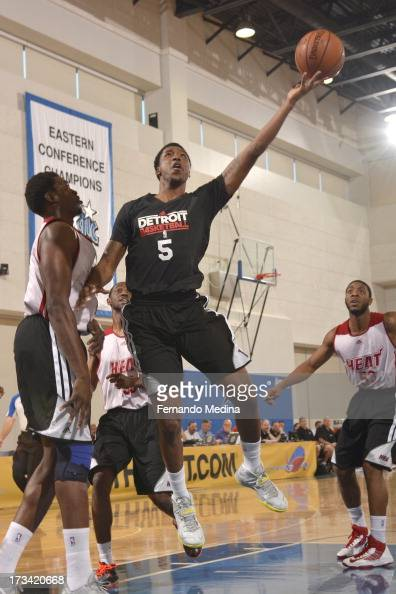 Kentavious CaldwellPope of the Detroit Pistons goes to the basket during the 2013 Southwest Airlines Orlando Pro Summer League between the Detroit...