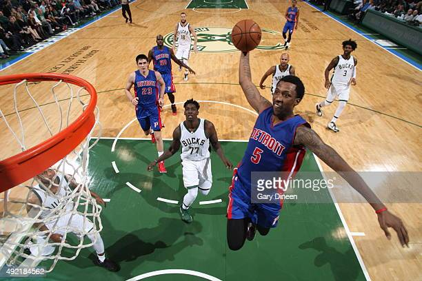 Kentavious CaldwellPope of the Detroit Pistons goes to the basket against the Milwaukee Bucks on October 10 2015 at the BMO Harris Bradley Center in...