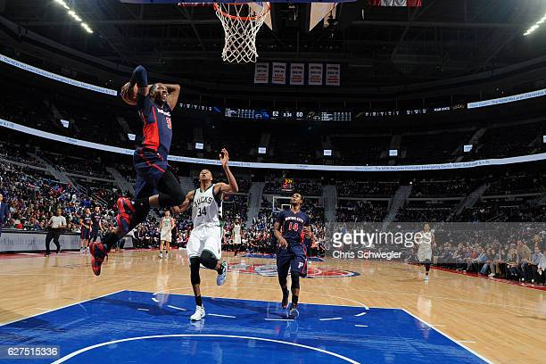 Kentavious CaldwellPope of the Detroit Pistons goes to the basket during the game against the Milwaukee Bucks on October 30 2016 at The Palace of...