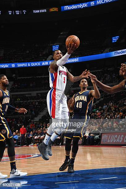 Kentavious CaldwellPope of the Detroit Pistons goes up for a shot during a game against the Indiana Pacers on January 3 2017 at The Palace of Auburn...