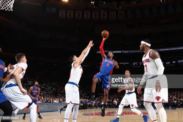 Kentavious CaldwellPope of the Detroit Pistons goes up for a shot during a game against the New York Knicks on March 27 2017 at Madison Square Garden...