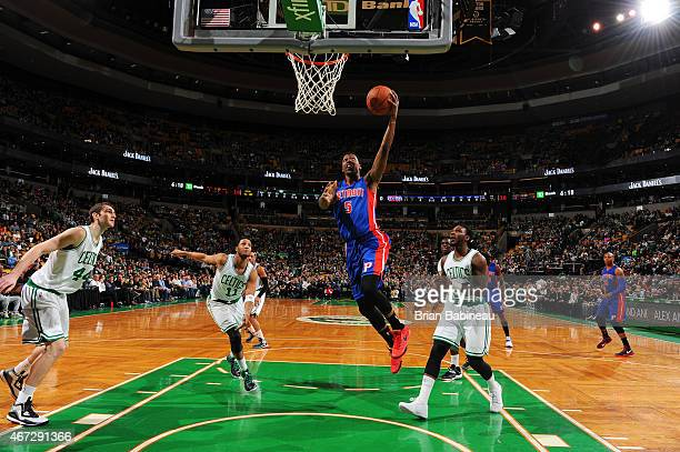 Kentavious CaldwellPope of the Detroit Pistons goes up for a shot against the Boston Celtics on March 22 2015 at the TD Garden in Boston...