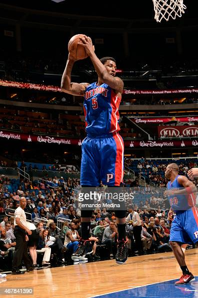 Kentavious CaldwellPope of the Detroit Pistons grabs a rebound against the Orlando Magic on March 27 2015 at Amway Center in Orlando Florida NOTE TO...