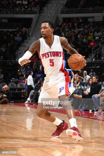 Kentavious CaldwellPope of the Detroit Pistons handles the ball during a game against the Miami Heat on March 28 2017 at The Palace of Auburn Hills...