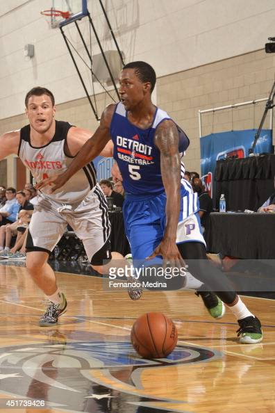 Kentavious CaldwellPope of the Detroit Pistons handles the ball against the Houston Rockets during the Samsung NBA Summer League 2014 on July 5 2014...