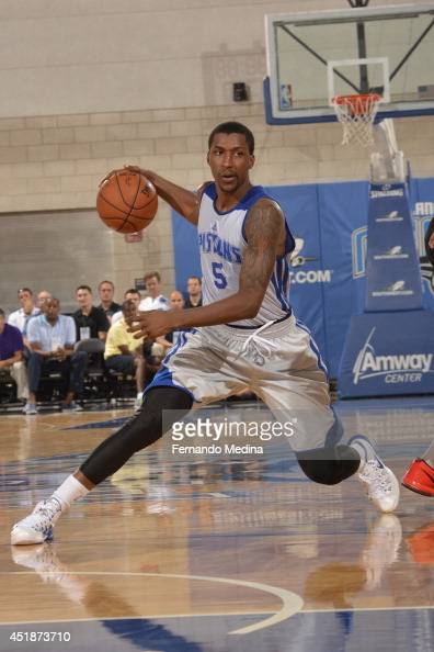 Kentavious CaldwellPope of the Detroit Pistons handles the ball against the Miami Heat during the Samsung NBA Summer League 2014 on July 8 2014 at...