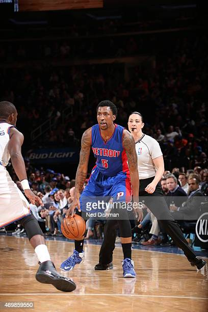 Kentavious CaldwellPope of the Detroit Pistons handles the ball against the New York Knicks on April 15 2015 at Madison Square Garden in New York...