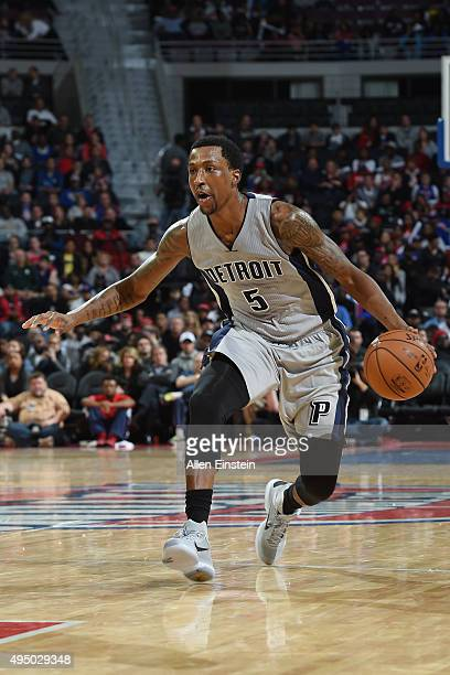 Kentavious CaldwellPope of the Detroit Pistons handles the ball against the Chicago Bulls on October 30 2015 at The Palace of Auburn Hills in Auburn...