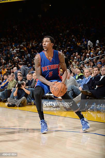 Kentavious CaldwellPope of the Detroit Pistons handles the ball against the Golden State Warriors on November 9 2015 at ORACLE Arena in Oakland...