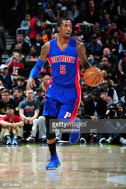 Kentavious CaldwellPope of the Detroit Pistons handles the ball against the Atlanta Hawks on December 2 2016 at Philips Arena in Atlanta Georgia NOTE...