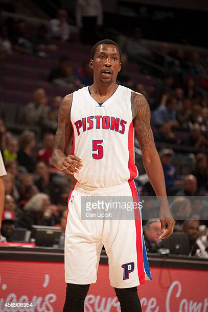 Kentavious CaldwellPope of the Detroit Pistons looks on during the game against the Chicago Bulls on October 7 2014 at The Palace of Auburn Hills in...