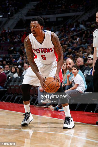Kentavious CaldwellPope of the Detroit Pistons looks to move the ball against the Miami Heat during the game on April 4 2015 at The Palace of Auburn...