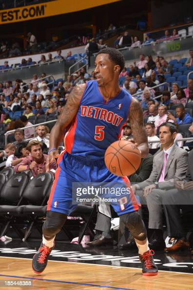 Kentavious CaldwellPope of the Detroit Pistons looks to pass the ball against the Orlando Magic during the game on October 20 2013 at Amway Center in...