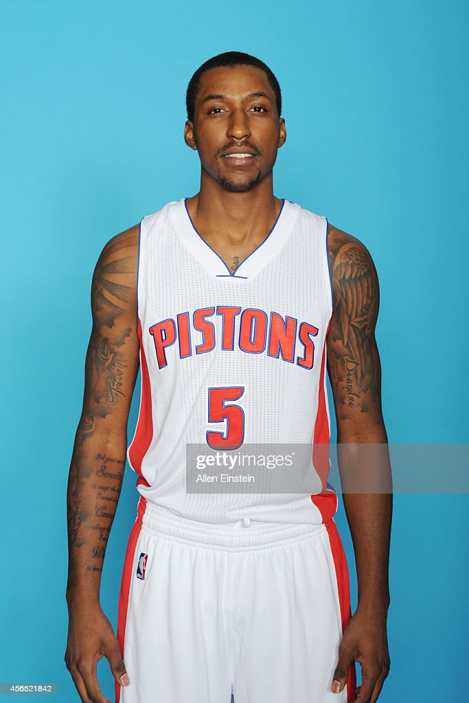 <a gi-track='captionPersonalityLinkClicked' href=/galleries/search?phrase=Kentavious+Caldwell-Pope&family=editorial&specificpeople=7621166 ng-click='$event.stopPropagation()'>Kentavious Caldwell-Pope</a> #5 of the Detroit Pistons poses during Detroit Pistons Media Day on September 29, 2014 in Auburn Hills, Michigan.