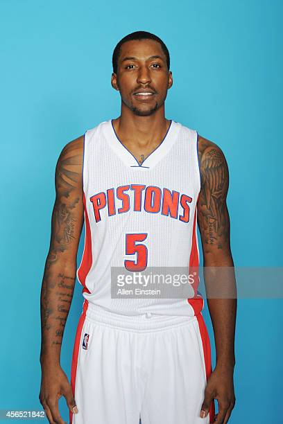 Kentavious CaldwellPope of the Detroit Pistons poses during Detroit Pistons Media Day on September 29 2014 in Auburn Hills Michigan NOTE TO USER User...