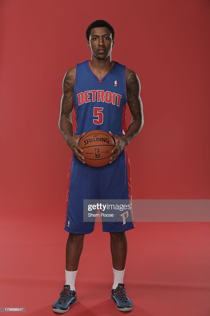 Kentavious Caldwell-Pope #9 of the Detroit Pistons poses for a portrait during the 2013 NBA rookie photo shoot on August 6, 2013 at the Madison Square Garden Training Facility in Tarrytown, New York.
