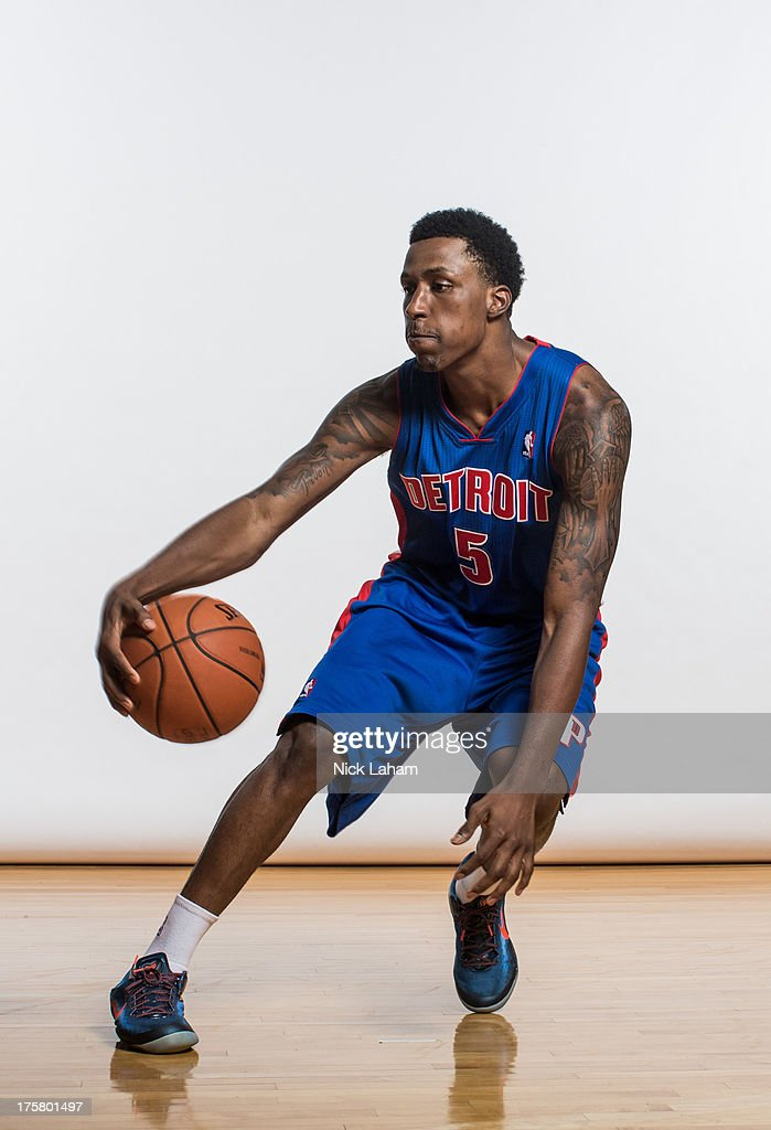Kentavious Caldwell-Pope #5 of the Detroit Pistons poses for a portrait during the 2013 NBA rookie photo shoot at the MSG Training Center on August 6, 2013 in Greenburgh, New York.