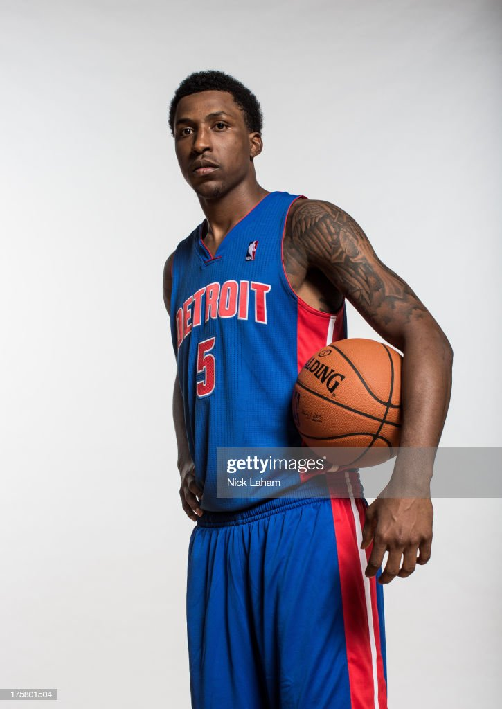 <a gi-track='captionPersonalityLinkClicked' href=/galleries/search?phrase=Kentavious+Caldwell-Pope&family=editorial&specificpeople=7621166 ng-click='$event.stopPropagation()'>Kentavious Caldwell-Pope</a> #5 of the Detroit Pistons poses for a portrait during the 2013 NBA rookie photo shoot at the MSG Training Center on August 6, 2013 in Greenburgh, New York.