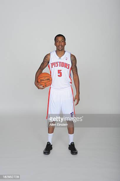 Kentavious CaldwellPope of the Detroit Pistons poses for a portrait during media day on September 30 2013 at The Palace of Auburn Hills in Auburn...