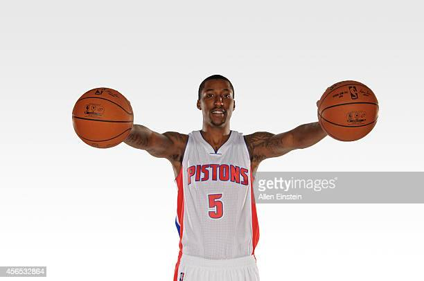 Kentavious CaldwellPope of the Detroit Pistons poses for a portrait during Detroit Pistons Media Day on September 29 2014 at The Palace of Auburn...