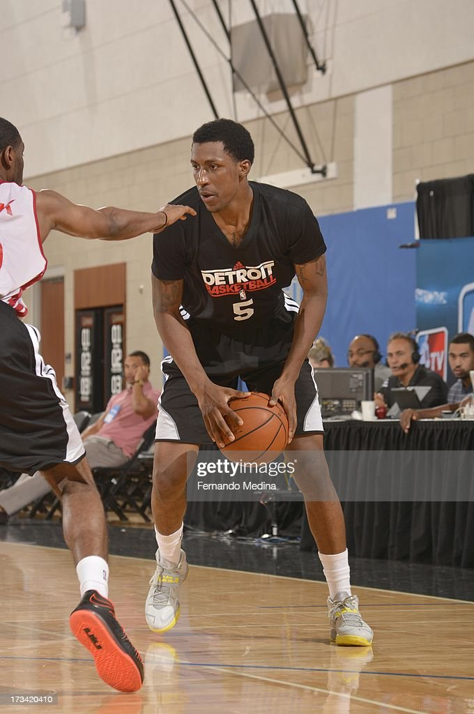 Kentavious Caldwell-Pope #35 of the Detroit Pistons protects the ball during the 2013 Southwest Airlines Orlando Pro Summer League between the Detroit Pistons and the Miami Heat on July 12, 2013 at Amway Center in Orlando, Florida.