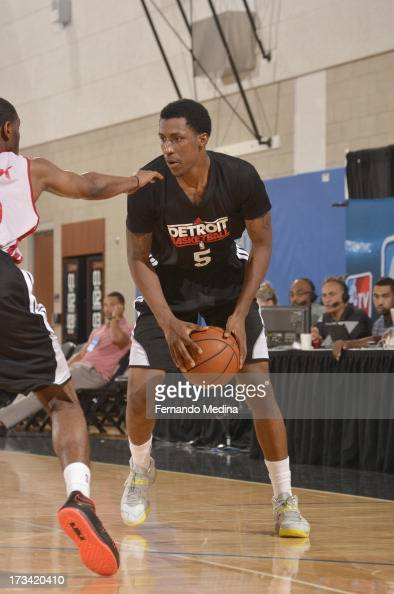 Kentavious CaldwellPope of the Detroit Pistons protects the ball during the 2013 Southwest Airlines Orlando Pro Summer League between the Detroit...