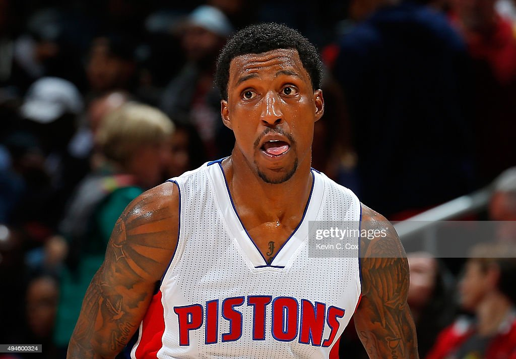 <a gi-track='captionPersonalityLinkClicked' href=/galleries/search?phrase=Kentavious+Caldwell-Pope&family=editorial&specificpeople=7621166 ng-click='$event.stopPropagation()'>Kentavious Caldwell-Pope</a> #5 of the Detroit Pistons reacts after a basket against the Atlanta Hawks at Philips Arena on October 27, 2015 in Atlanta, Georgia. NOTE TO USER User expressly acknowledges and agrees that, by downloading andor using this photograph, user is consenting to the terms and conditions of the Getty Images License Agreement.