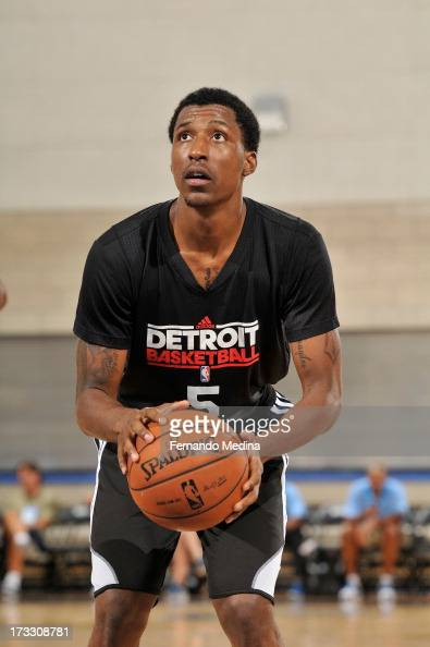 Kentavious CaldwellPope of the Detroit Pistons shoots a free throw against the Miami Heat during the 2013 Southwest Airlines Orlando Pro Summer...