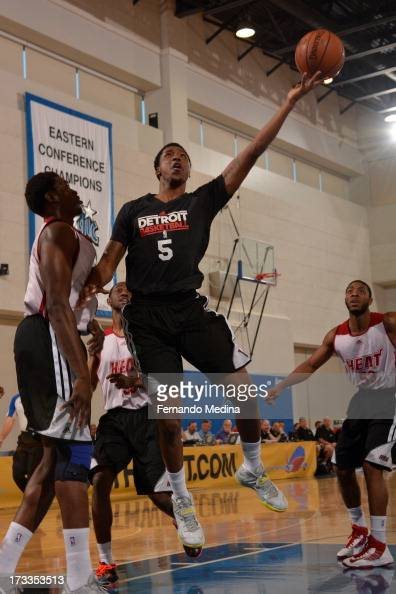 Kentavious CaldwellPope of the Detroit Pistons shoots against the Miami Heat during the 2013 Southwest Airlines Orlando Pro Summer League on July 12...
