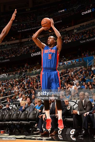 Kentavious CaldwellPope of the Detroit Pistons shoots against the Orlando Magic on December 30 2014 at Amway Center in Orlando Florida NOTE TO USER...