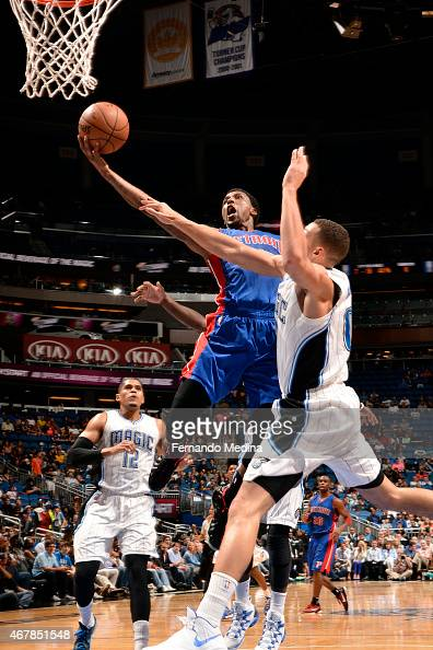Kentavious CaldwellPope of the Detroit Pistons shoots against the Orlando Magic on March 27 2015 at Amway Center in Orlando Florida NOTE TO USER User...