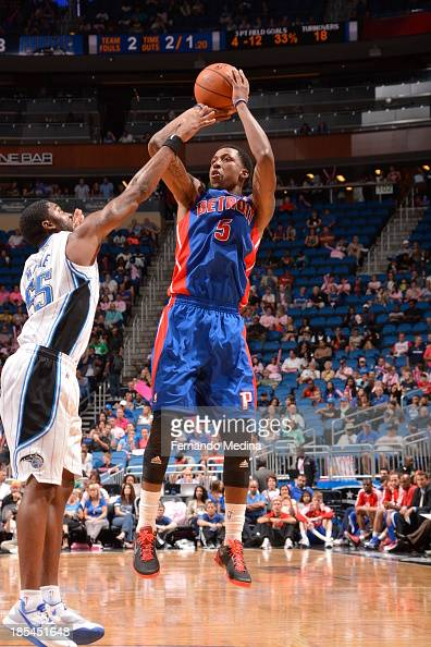Kentavious CaldwellPope of the Detroit Pistons shoots the ball against the Orlando Magic during the game on October 20 2013 at Amway Center in...