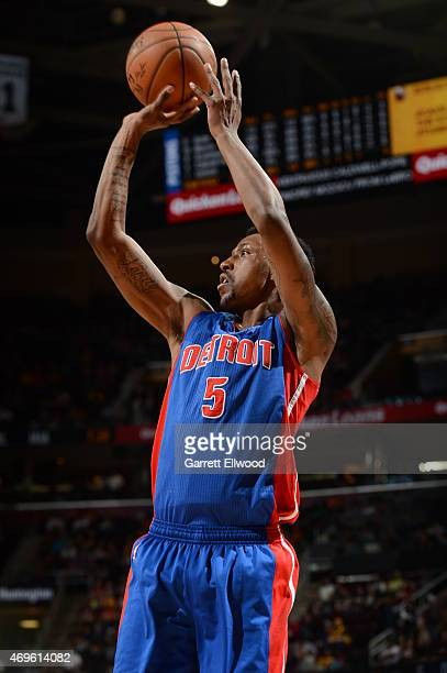 Kentavious CaldwellPope of the Detroit Pistons shoots the ball against the Cleveland Cavaliers on April 13 2015 at Quicken Loans Arena in Cleveland...