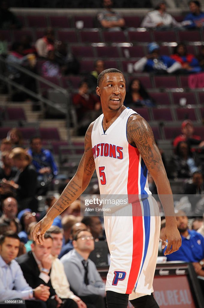 <a gi-track='captionPersonalityLinkClicked' href=/galleries/search?phrase=Kentavious+Caldwell-Pope&family=editorial&specificpeople=7621166 ng-click='$event.stopPropagation()'>Kentavious Caldwell-Pope</a> #5 of the Detroit Pistons smiles during the game against the Milwaukee Bucks during the pre-season game on October 9, 2014 at The Palace of Auburn Hills in Auburn Hills, Michigan.