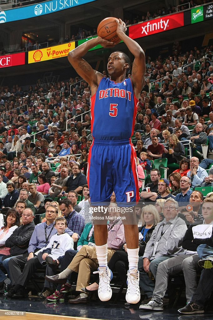 <a gi-track='captionPersonalityLinkClicked' href=/galleries/search?phrase=Kentavious+Caldwell-Pope&family=editorial&specificpeople=7621166 ng-click='$event.stopPropagation()'>Kentavious Caldwell-Pope</a> #5 of the Detroit Pistons takes a shot against the Utah Jazz at EnergySolutions Arena on March 24, 2014 in Salt Lake City, Utah.