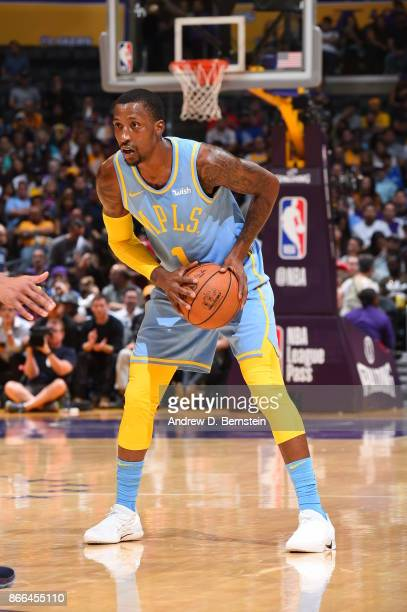 Kentavious CaldwellPope of the Los Angeles Lakers handles the ball against the Washington Wizards on October 25 2017 at STAPLES Center in Los Angeles...