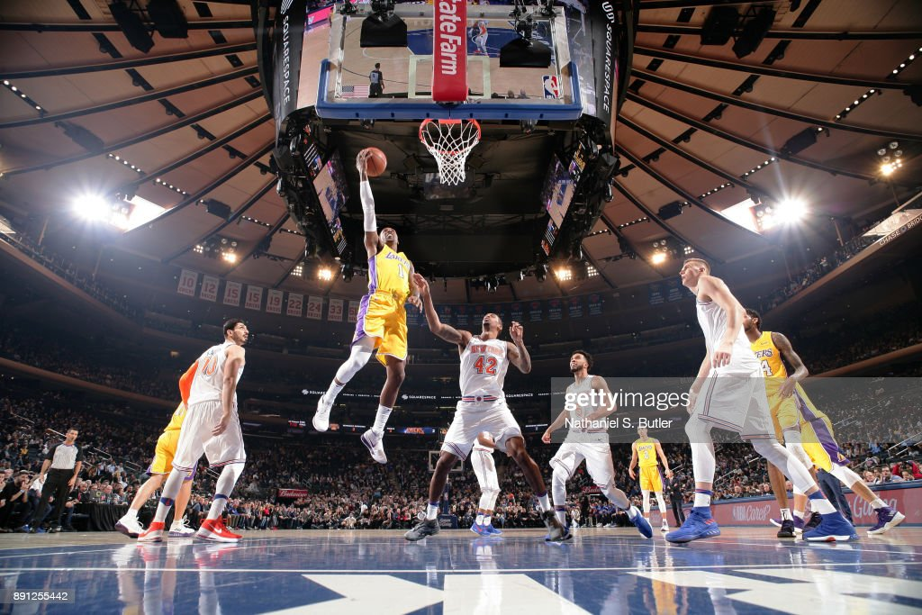 Kentavious Caldwell-Pope #1 of the Los Angeles Lakers shoots the ball during the game against the New York Knicks on December 12, 2017 at Madison Square Garden in New York, New York.