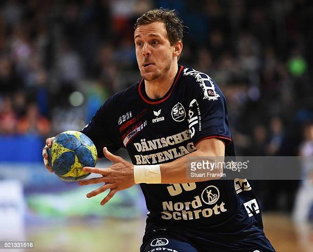 Kentin Mahé of Flensburg in action during the DKB handball Bundeliga match between SG Flensburg Handewitt and TuS NLuebbecke at FlensArena on April...
