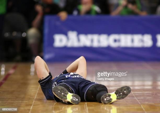 Kentin Mahe is disappointed during the Game SG Flensburg Handewitt v Rhein Neckar Loewen at FlensArena on May 28 2017 in Flensburg Germany