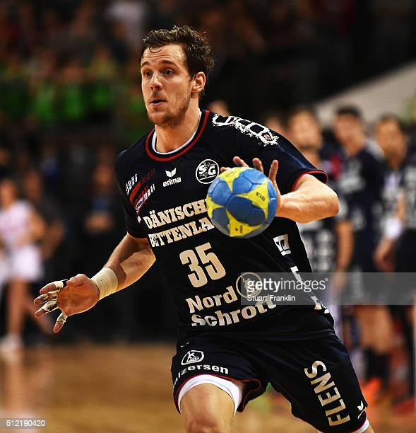 Kentin Mahe of Flensburg in action during the DKB Bundesliga handball match between SG Flensburg Handewitt and SC DHFK Leipzig at FlensArena on...