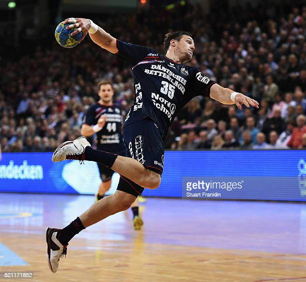 Kentin Mahe of Flensburg throws a goal during the DKB handball Bundeliga match between SG Flensburg Handewitt and TuS NLuebbecke at FlensArena on...