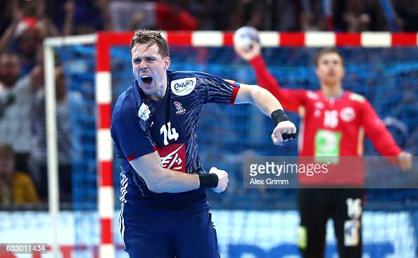Kentin Mahe of France celebrates during the 25th IHF Men's World Championship 2017 Final between France and Norway at Accorhotels Arena on January 29...