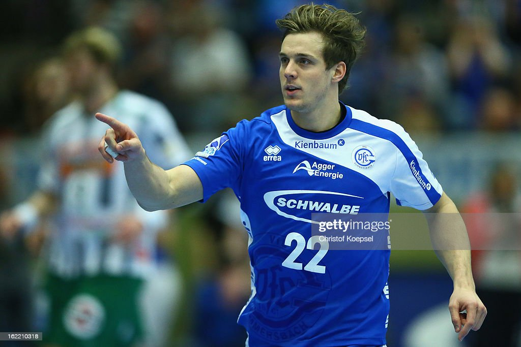 Kentin Mahe of Gummersbach celebrates a goal during the DKB Handball Bundesliga match between VfL Gummersbach and FrischAuf Goeppingen at Eugen-Haas-Sporthalle on February 20, 2013 in Gummersbach, Germany.