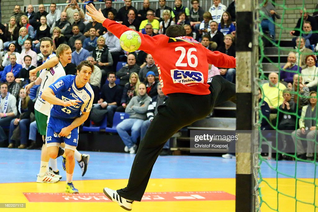 Kentin Mahe of Gummersbach scores a goal against Primoz Prost of Goeppingen during the DKB Handball Bundesliga match between VfL Gummersbach and FrischAuf Goeppingen at Eugen-Haas-Sporthalle on February 20, 2013 in Gummersbach, Germany.