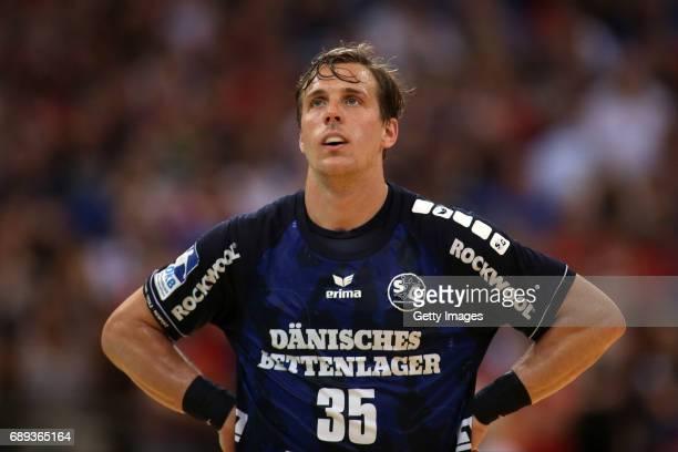 Kentin Mahe of SG Flensburg Handewitt is disappointed during the Game SG Flensburg Handewitt v Rhein Neckar Loewen at FlensArena on May 28 2017 in...